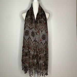 Anthropologie Boho Sun Fringe Scarf Gray Brown